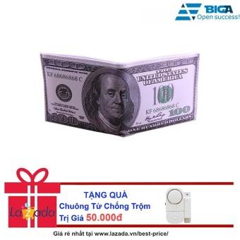 Ví Da Loại 1 Hình Dáng Tờ Tiền 100 Dollars USA2627 + Tặng Chuông Từ Chống Trộm