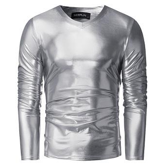 Mens Bright Leisure V Influx T-shirt Handsome Slim Pullover Long Sleeve T-shirt (Silver) - intl