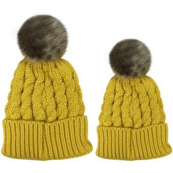 2 PCS Unisex Parents Adults Kids Knitted Woolen Yarn Knitting Winter Autumn Warm Outdoor Ski Cap Hat Yellow - intl