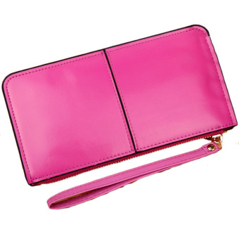 Retro Long Card Holder Purse Leather Stitching Lady Women Wallet Hot Pink