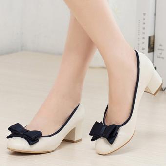 Giày da gót vuông nơ xinh G22GX