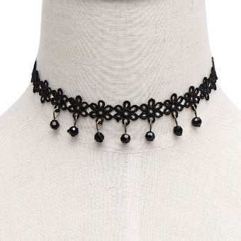 Necklaces Lace neck Jewelry Necklace Chain Necklace accessories and all-match clavicle (Black) - intl