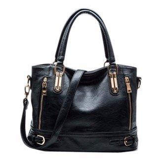 Women Lady Vintage Side-Zipper Buckle Handbag Tote Shoulder Crossbody Bag Black - Intl