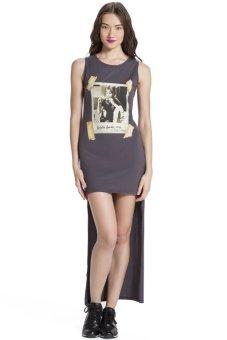 Đầm maxi in hình Brigitte Blomor BW14838 (Xám)