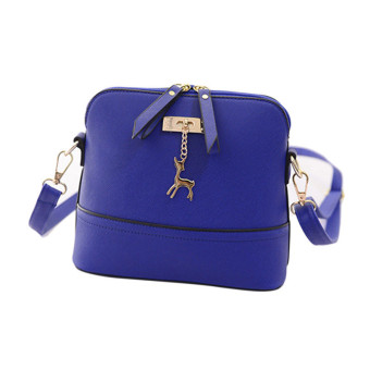 New Women Messenger Bags Vintage Small Shell Leather Handbag Casual Bag Blue