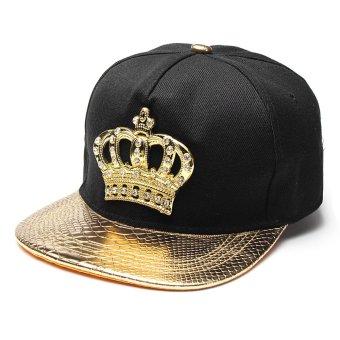 Unisex Men Women Snapback Bboy Hats Crown Baseball Adjustable Hip Hop Caps Gold - intl