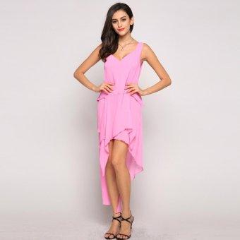 Sunweb FINEJO Women Sexy V Neck Sleeveless Solid Color Chiffon Dress ( Pink ) - intl