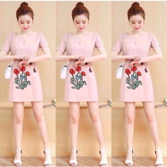 Đầm Suông In Hình Hoa (Màu Hồng)