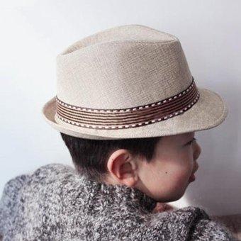 Moonar Kids Unisex Fedora Hat Contrast Trim Cool Jazz Hat Trilby Cap Chapean (beige) - intl