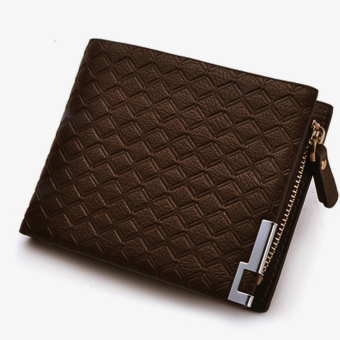 PU Leather Zipper Wallet Money Clip Card Holder Pocket Money Purse Brown Stripes - Intl