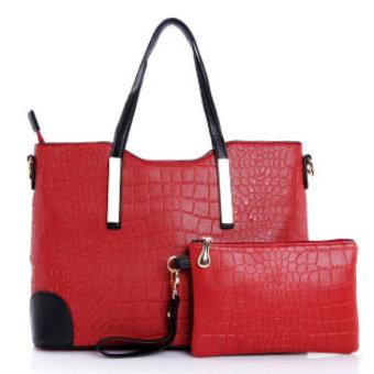 Bộ túi xách và ví hai ngăn cao cấp (Đỏ)