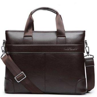 Men Briefcase Leather Bag Business Shoulder Crossbody Messenger Laptop Handbag Brown - intl