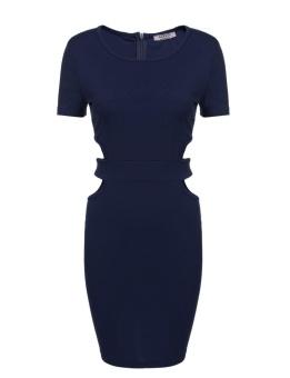 Cyber Women Sexy Short Sleeve Waist Hollow Package Hip Bodycon Mini Party Pencil Dress ( Navy Blue ) - intl