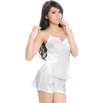 Đồ bộ mặc nhà quần sọt áo hai dây phối ren đính nơ Wannabe BS12A (Kem)