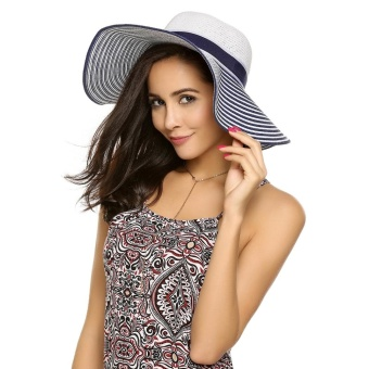 Cyber Women Fashion Summer Spring Bunch Straw Braided Round Wide Hat ( Blue and White ) - intl