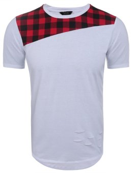 Linemart Men Casual Short Sleeve O Neck Plaid Cut off Patchwork Pullover Long T-Shirt ( Red + White ) - intl