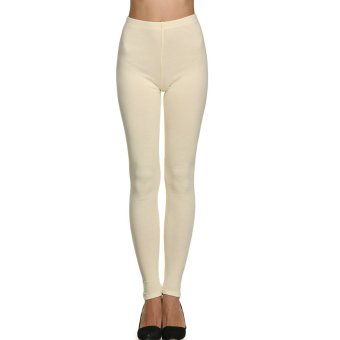 Cyber Meaneor Women's Thick Warm Seamless Full Length Slim Stretch Leggings Skinny Pants (Beige) - Intl
