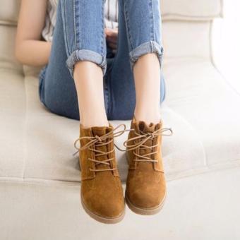 Giày bốt nữ màu nâu da lộn GBN64