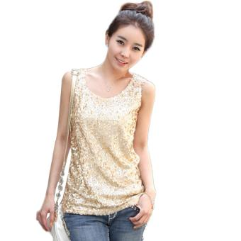 Sequin Sleeveless Tank Top (Gold) - Intl