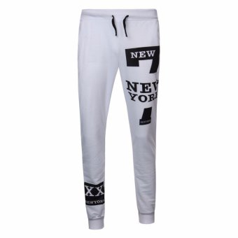 Fashion Men Letters Printed Loose Elastic Waist Joggers Pants - Intl