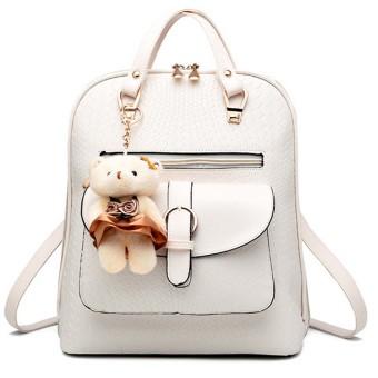 3 in 1 PU Leather Casual Outdoor Travel Tablet Bag Handbag Backpack Shoulder Bag with Bear Pendant Beige - intl