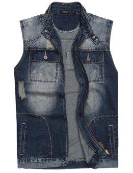 Linematr Men Casual Sleeveless Stand Collar Holes Lapel Denim Vest Jacket ( Blue ) - intl