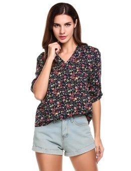 Cyber Women V-Neck 3/4 Sleeve Floral Print High Low Hem Blouse ( Multicolor ) - intl