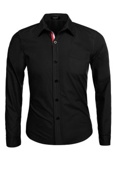 Cyber Coofandy Autum Winter Men Long Sleeve Lapel Career Business Men Shirt (Black) - intl