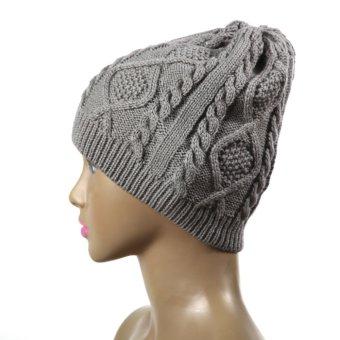 2015 Feminino Twist Pattern Women Winter Knitted Sweater Hats Gray (Intl)