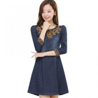 Đầm jean thêu họa tiết