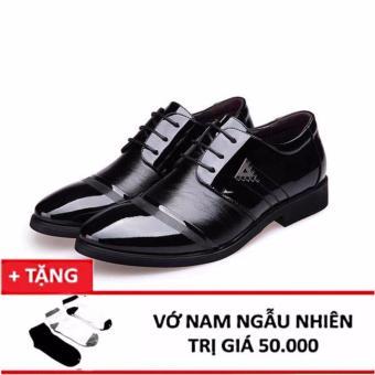 Giày da nam đế cao ZANI ZMG8523BL +Tặng 1 đôi tất,vớ