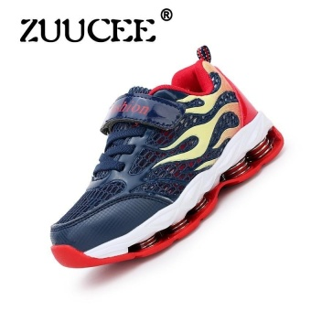 Sports Shoes Mesh Breathable Running Shoes Boys And Girlsleisure Travel Shoes In The Big Child Spring Bottom (Dark Blue) - intl