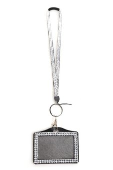 HKS Resin Rhinestone Crystal Work Card ID Case Holder with Strap Lanyard - intl