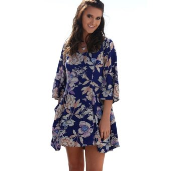 Zaful V-neck Design Dress Big Flower Printed Woman Three Quarter Sleeved Pocket - Intl