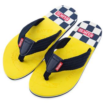 Casual Male Skid Resistance Beach Flip Flops(Yellow) - intl