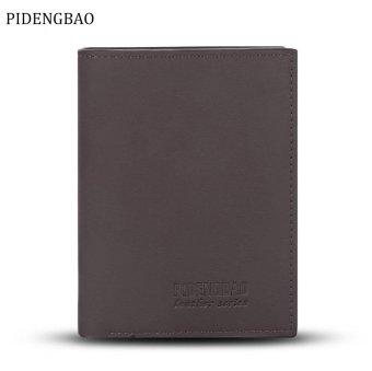 PIDENGBAO Fashionable Solid Color Snap Zipper Men Card Holder Vertical Short Wallet - intl