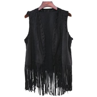 RetroV-Neck Fringe Women's Vest ONE SIZE(FIT SIZE XS TO M) - Intl