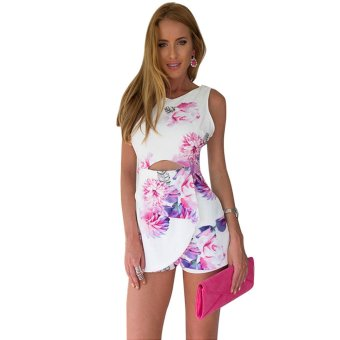 Women Casual Floral Hollow Bodycon V-Neck Jumpsuit Playsuit Rompers - intl