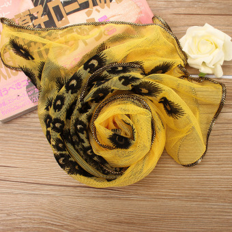 Fashion Women Silk Scarf Long Soft Peacock Wrap Ladies Shawl Girls Silk Scarves Yellow - Intl