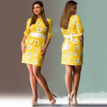 Woman Dress Round Collar Slim Flower Printing (Yellow) - Intl