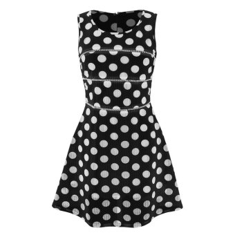 Sunweb ANGVNS Ladies Women Sweet Sleeveless Sundress Dot Hollow Casual Party Slim A-line Dress ( Black ) - intl