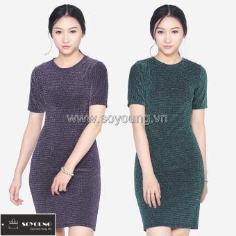 Bộ 2 Váy Midi Body Nhũ Dáng Dài Cộc Tay SoYoung DRESS 0068C A B