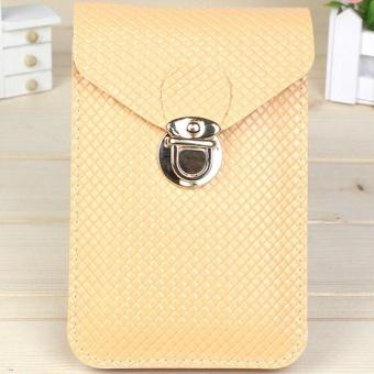 Moonar Women Fashion PU Leather Clasp Mini Crossbody Mobile Phone Bag Money Purse (Beige) - intl