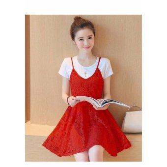 Đầm Xòe Ren kèm Áo Thun Xinh Xắn Hana Fashion ( đỏ)