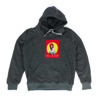 Áo khoác hoodie nữ in hình Hell Raisin (xám đậm)