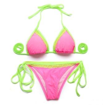 HKS 72315 Sexy Swimsuit Swim Swear Bikini Pink and Green - intl