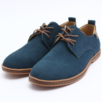 New European Style Men's Leather Shoes Oxfords Casual Suede Formal Dress Shoes - intl