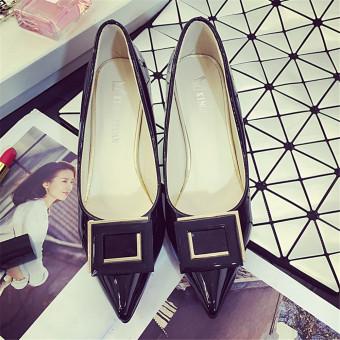 Pointed Toe Middle Heel Pumps High Heel Shoes(Black) - intl