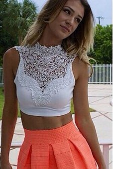 Linemart Women Lace Backless Sleeveless Hollow Out Tank Crop Tops (White) - intl