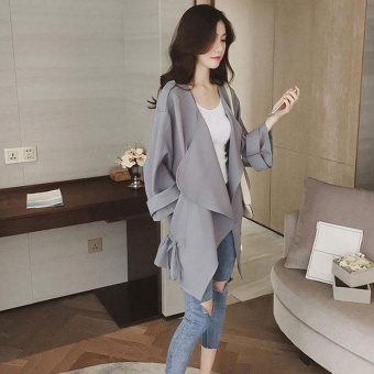 Women Leisure Fashion Thin Fabric Loose Lapel Pocket Elastic Lace-Up Pure Color Trench Coat(Grey) - intl